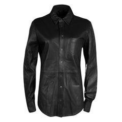 Joseph Black Lambskin Glove Leather Garcon Shirt M