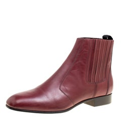 Joseph Burgundy Leather Chelsea Boots Size 38