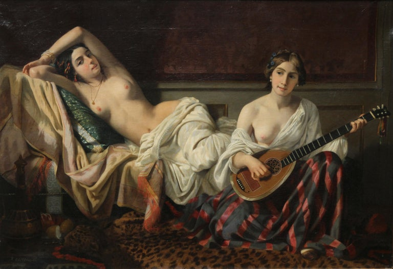 Serenade in the Harem - French 19th Century Orientalist art nude oil painting For Sale 5