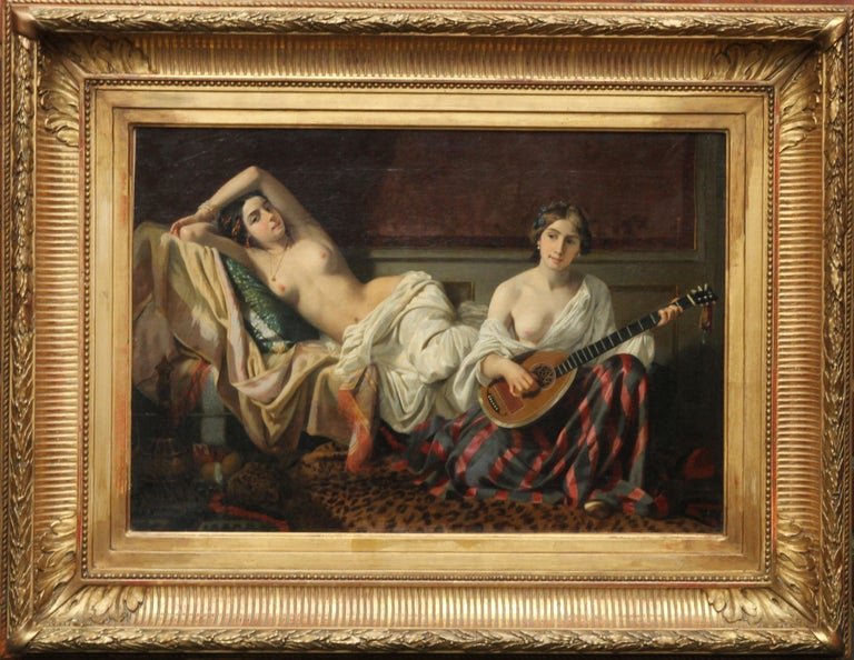 Serenade in the Harem - French 19th Century Orientalist art nude oil painting For Sale 6