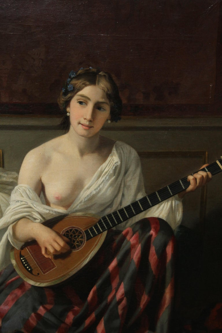 Serenade in the Harem - French 19th Century Orientalist art nude oil painting - Brown Nude Painting by Joseph Caraud
