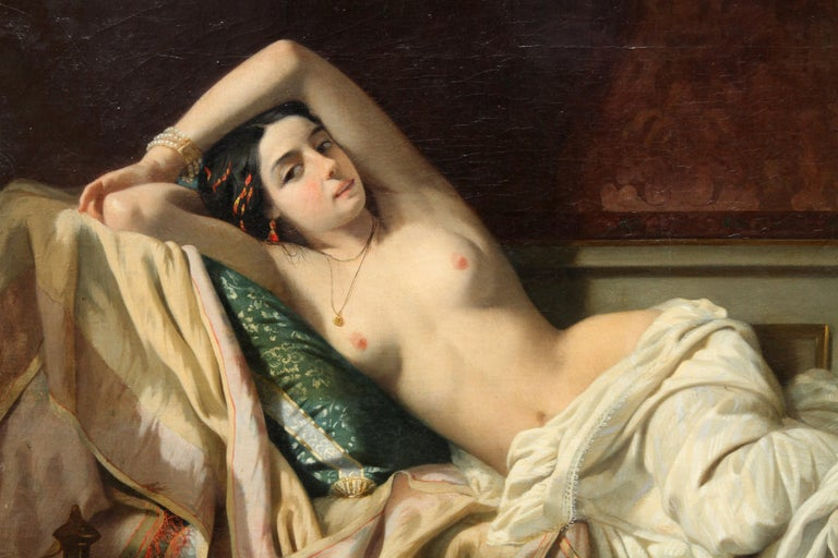 Serenade in the Harem - French 19th Century Orientalist art nude oil painting For Sale 1
