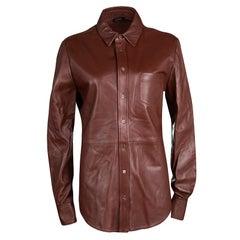 Joseph Chestnut Brown Lambskin Glove Leather Garcon Shirt M