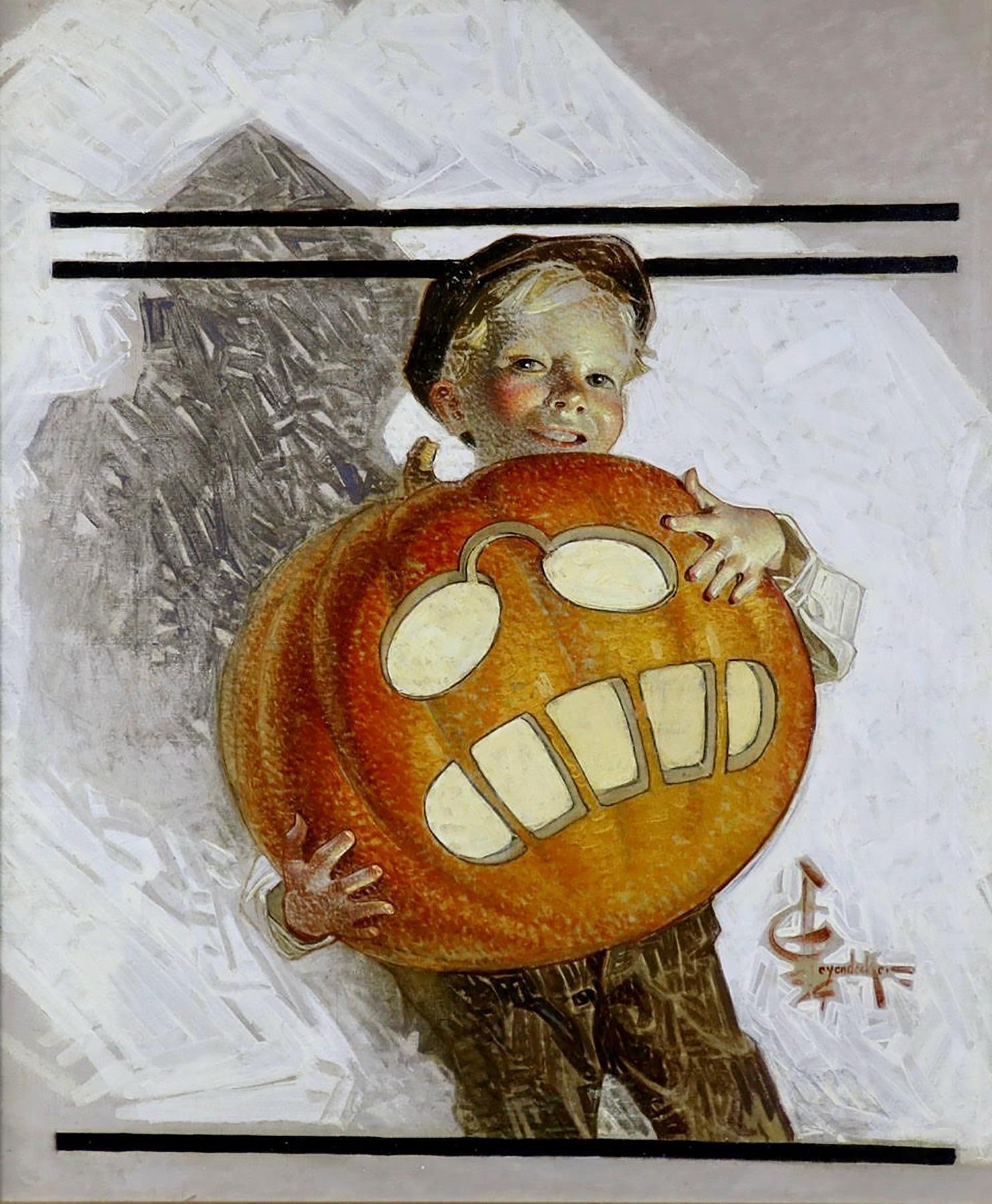 Boy Holding Pumpkin Carving of Teddy Roosevelt