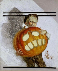 Boy Holding Pumpkin Carving of Teddy Roosevelt