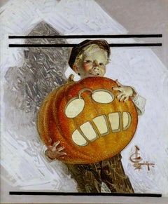 Boy Holding Pumpkin Carving of Teddy Roosevelt, Saturday Evening Post Cover