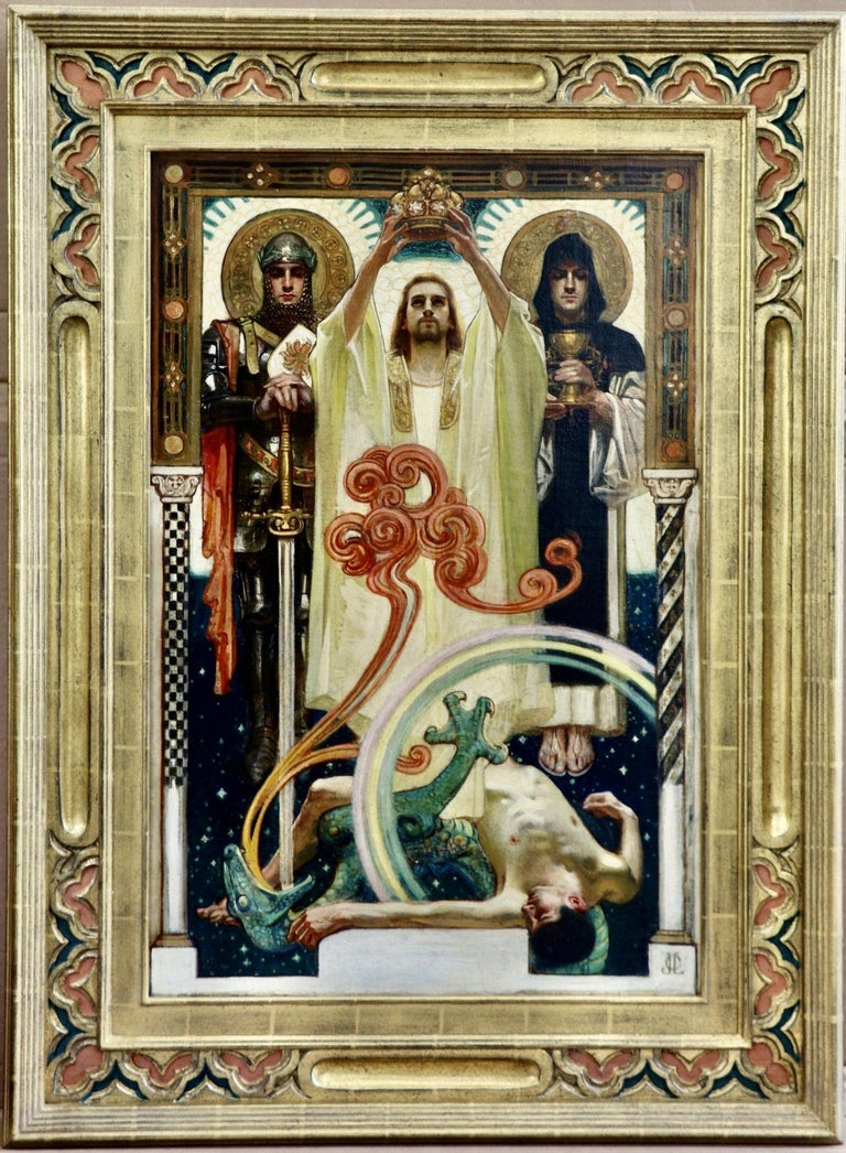 Christ with Sainted Knights - Painting by Joseph Christian Leyendecker