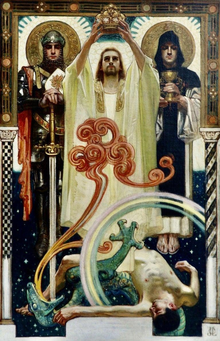 Joseph Christian Leyendecker Figurative Painting - Christ with Sainted Knights