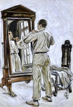 Man Dressing in Mirror