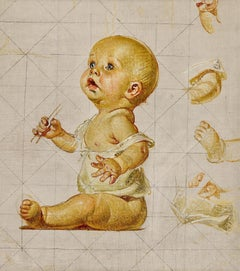Study for New Year's Baby (Blowing Bubbles)