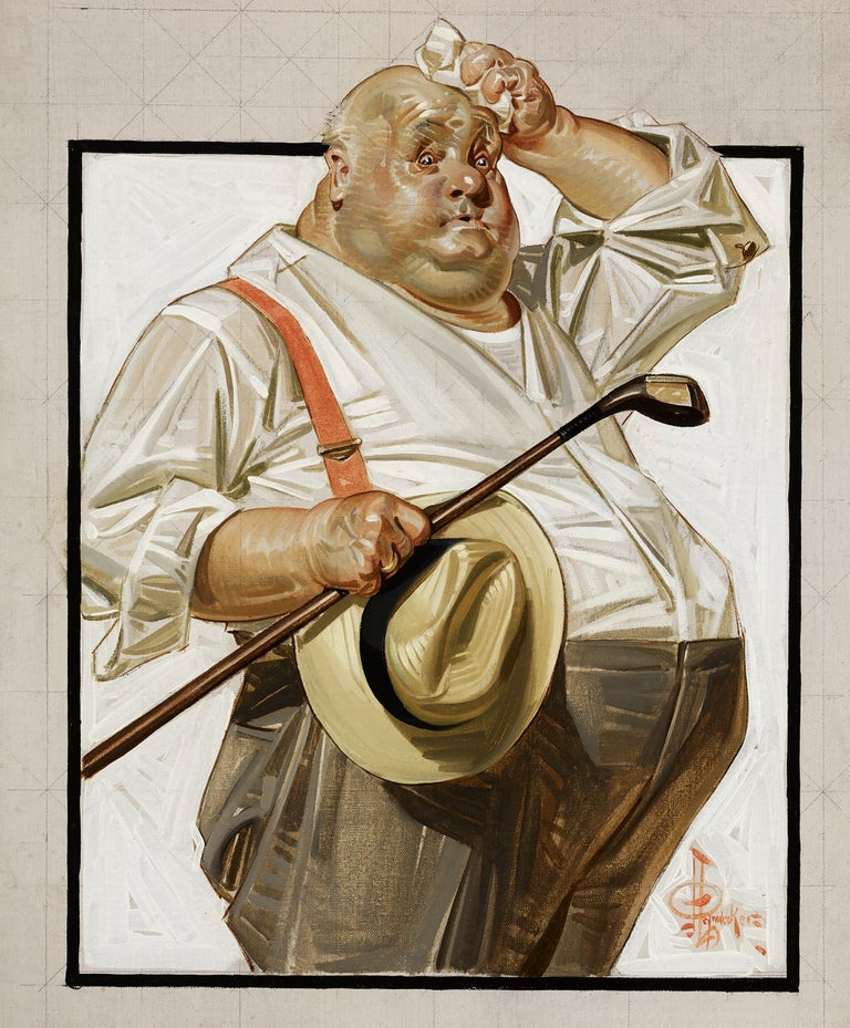 Joseph Christian Leyendecker Figurative Painting - The Reluctant Golfer