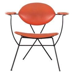 Joseph Cicchelli Minimalist Armchair in Red Vinyl for Reilly-Wolff, 1960