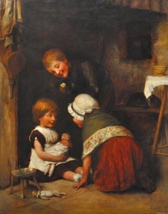 Children at play. Original oil painting dated 1881. Victorian childhood scene.