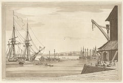 View of Greenwich from Deptford Yard, Thames, London, C18th English aquatint