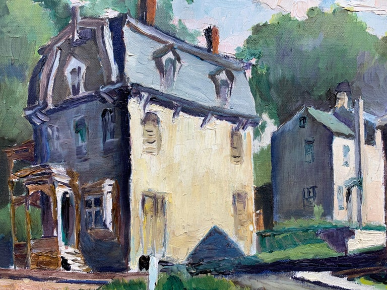 Lambertville NJ (American Realist landscape) - American Impressionist Painting by Joseph Crilley