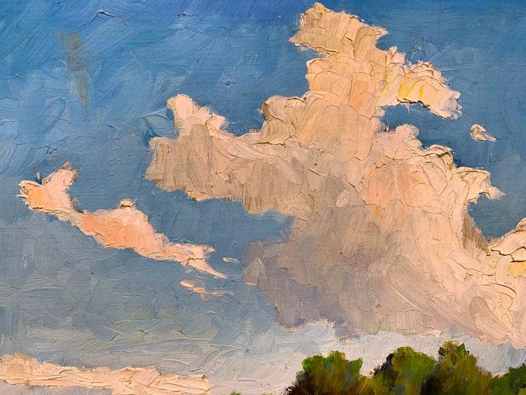 Lambertville NJ (American Realist landscape) - Gray Landscape Painting by Joseph Crilley