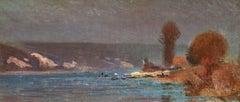 Evirons de Rouen - 19th Century Oil, River Seine Landscape by Joseph Delattre