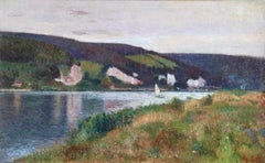 On the Seine - near Rouen - 19th Century Oil, Landscape by Joseph Delattre