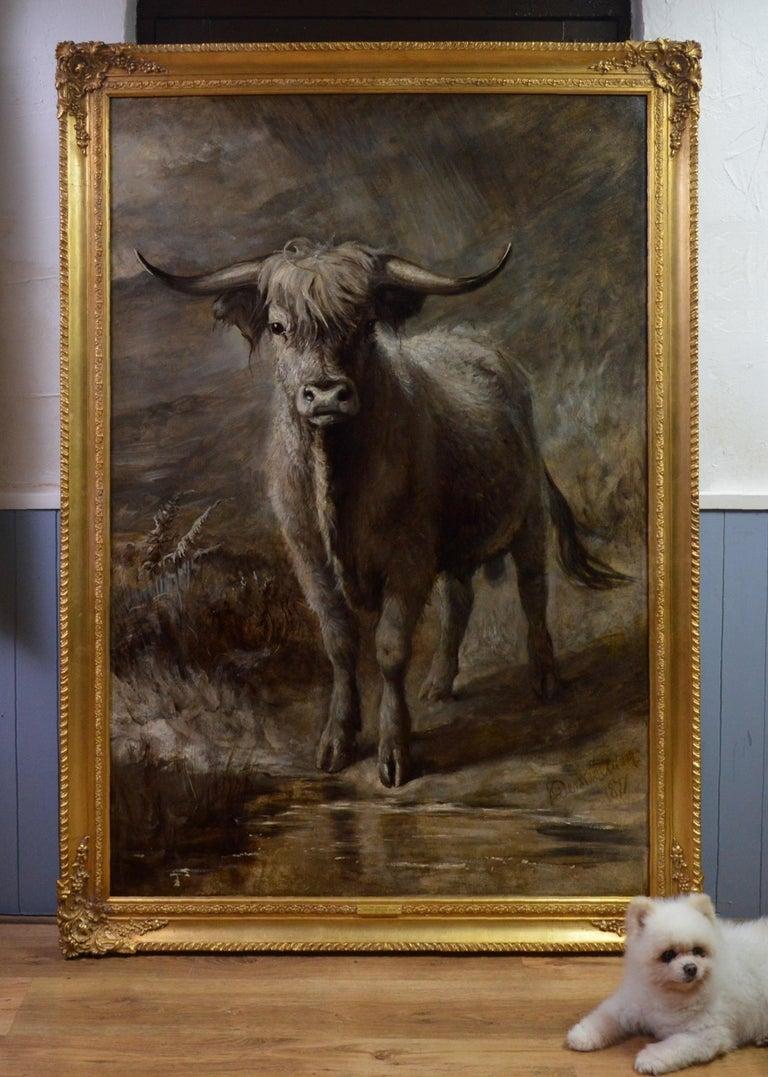 The Highlander - 19th Century Portrait Oil Painting of Scottish Highland Bull - Brown Landscape Painting by Joseph Denovan Adam