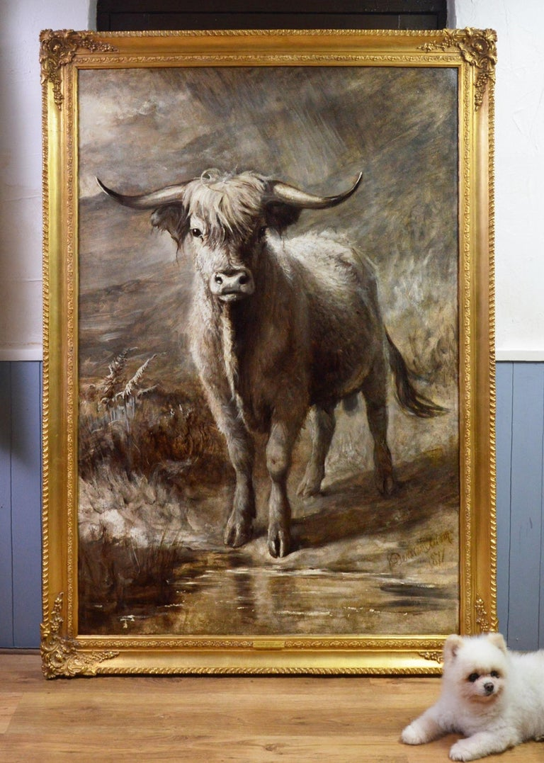 The Highlander - 19th Century Portrait Oil Painting of Scottish Highland Bull - Brown Landscape Painting by Joseph Denovan Adam