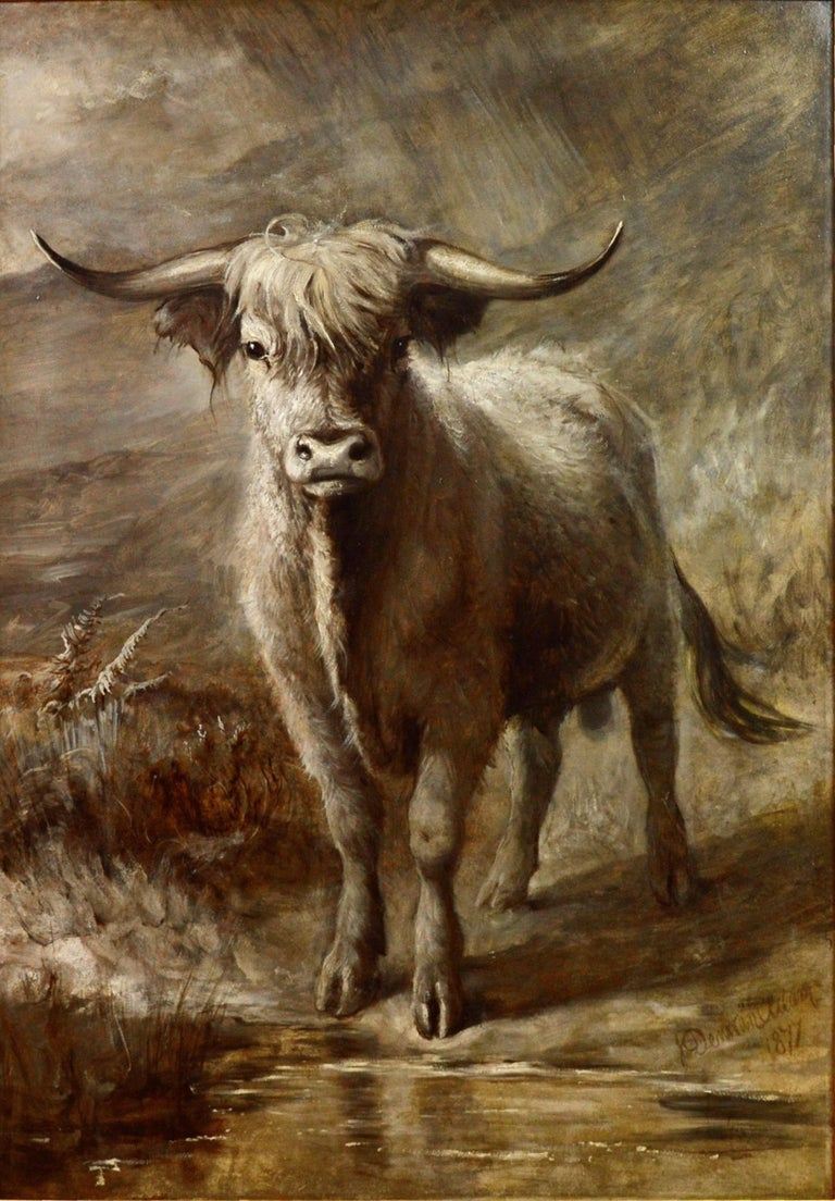 This is a very large fine 19th century oil on canvas depicting a young Highland bull by the distinguished Scottish painter Joseph Denovan Adam RSA RSW (1841-1896). 'The Highlander' is signed by the artist and dated 1877. It is sold in a superb