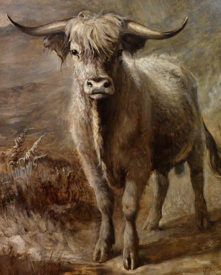The Highlander - 19th Century Portrait Oil Painting of Scottish Highland Bull For Sale 1