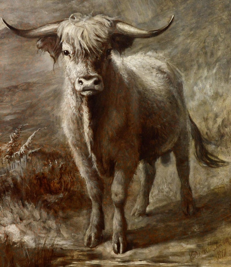The Highlander - 19th Century Portrait Oil Painting of Scottish Highland Bull For Sale 1
