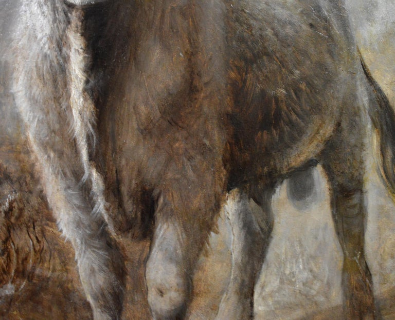 The Highlander - 19th Century Portrait Oil Painting of Scottish Highland Bull For Sale 4