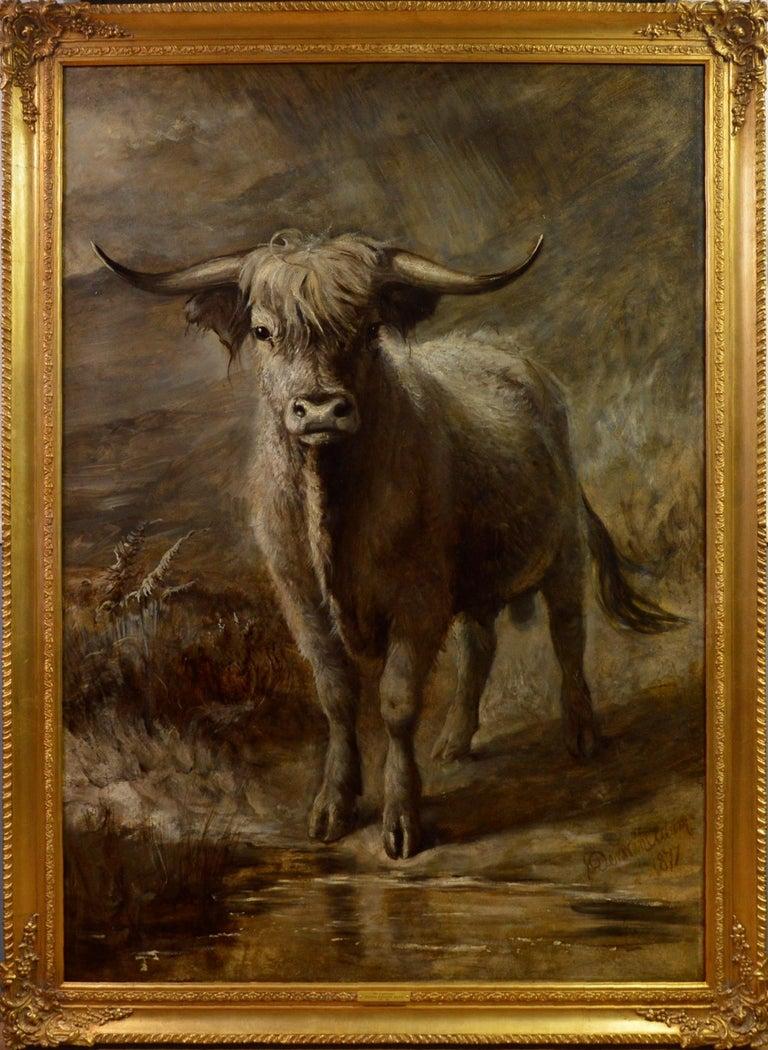 Joseph Denovan Adam Landscape Painting - The Highlander - 19th Century Portrait Oil Painting of Scottish Highland Bull