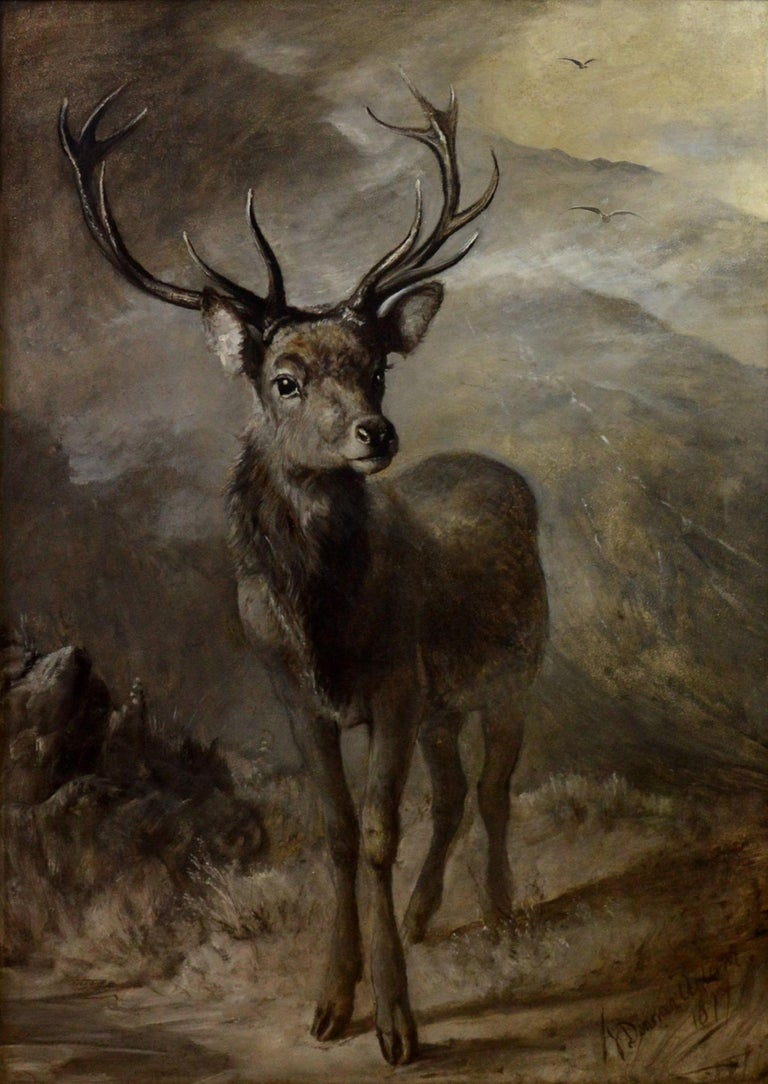 The Young Pretender - Huge 19th Century Scottish Oil Painting of Highland Stag For Sale 2