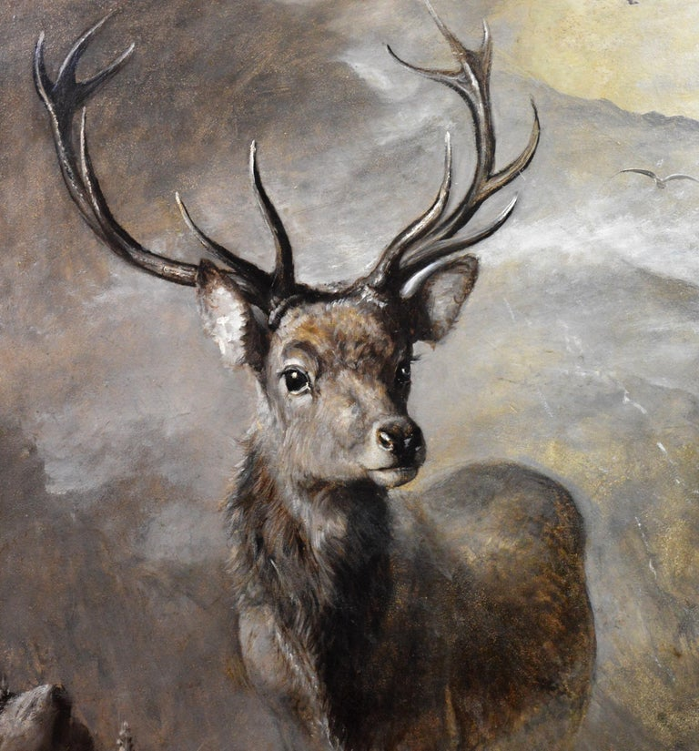 The Young Pretender - Huge 19th Century Scottish Oil Painting of Highland Stag For Sale 3