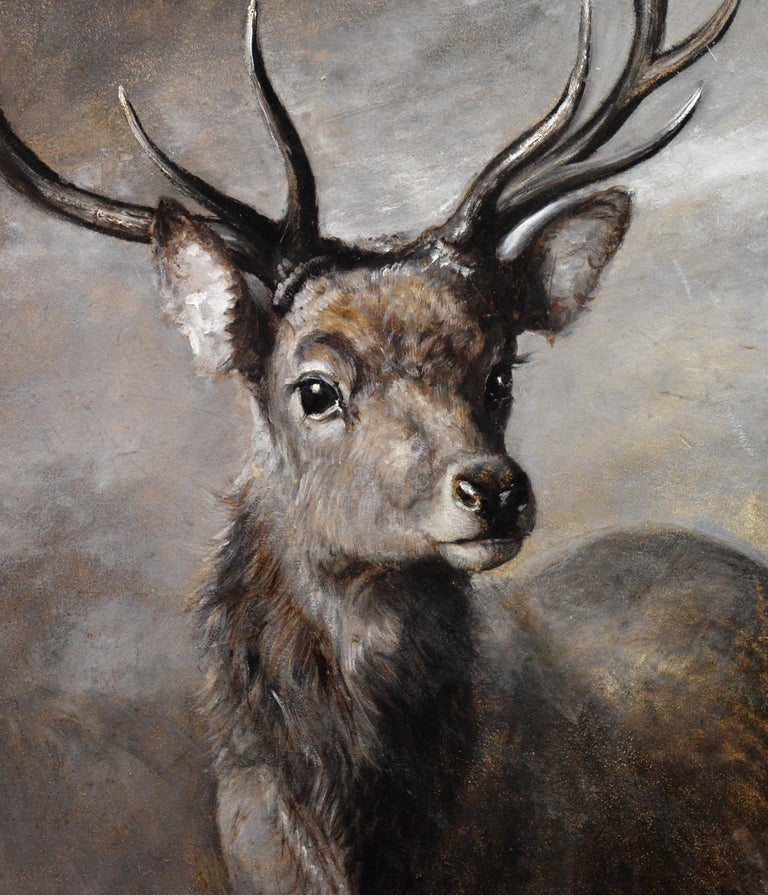 The Young Pretender - Huge 19th Century Scottish Oil Painting of Highland Stag For Sale 4