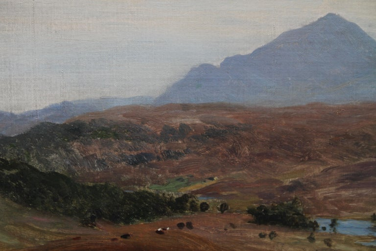 Scottish River Mountain Landscape - Victorian art oil painting exhibited artist For Sale 2