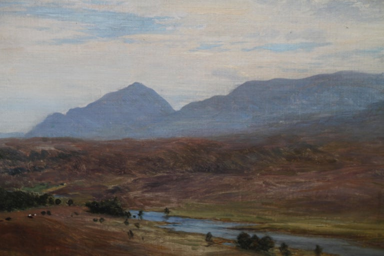 Scottish River Mountain Landscape - Victorian art oil painting exhibited artist For Sale 3