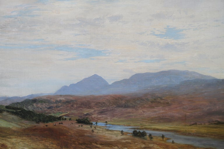 Scottish River Mountain Landscape - Victorian art oil painting exhibited artist For Sale 4