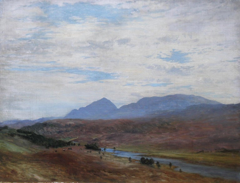 Scottish River Mountain Landscape - Victorian art oil painting exhibited artist For Sale 5