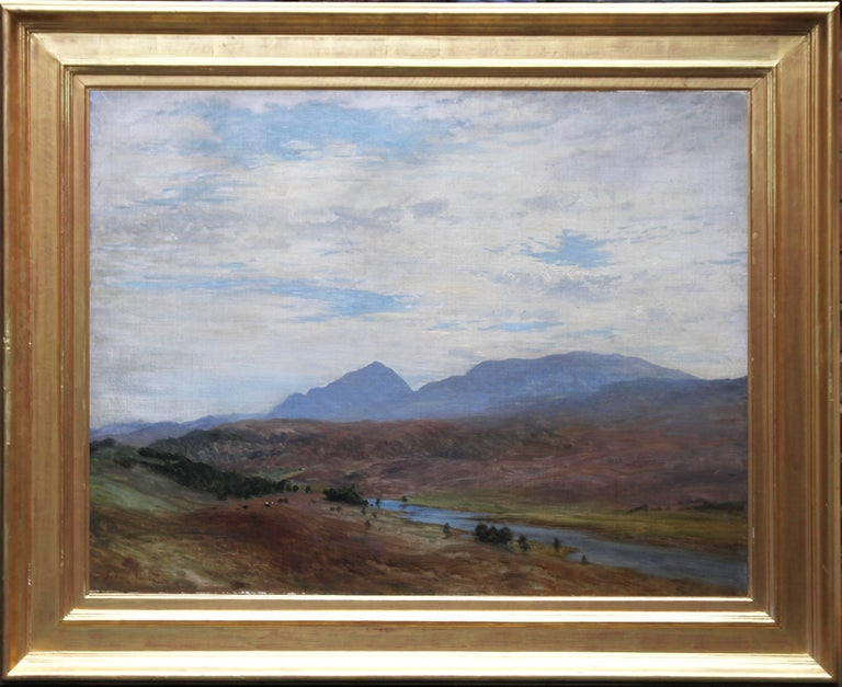 A large impressive original Victorian oil painting which was painted circa 1890 by Scottish listed artist Joseph Farquharson RA.  This Romantic Scottish landscape view is in fine condition and is framed in a Victorian gilt gallery frame. He was a