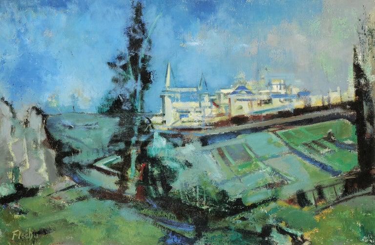 Joseph Floch Landscape Painting - City in Normandie
