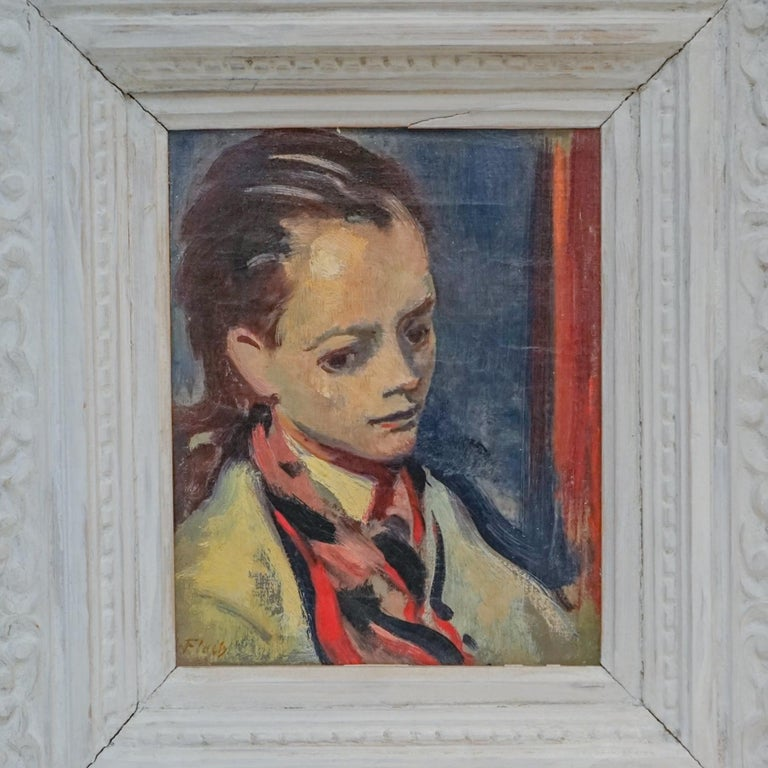 Expressionist High Society Portrait of a Lady  ACA GALLERY - Gray Figurative Painting by Joseph Floch