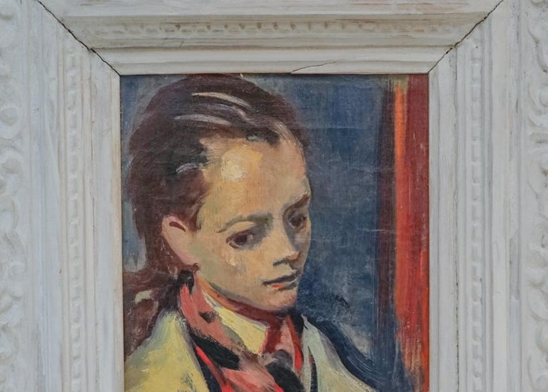 Modernist Portrait of a High Society Lady with thick Impasto by Joseph Floch (Austrian, 1874-1927).  Oil on Canvas, Circa 1940.  Signed Lower left, with ACA Gallery Label verso.  Displayed in a period white carved frame.  Overall size is 19