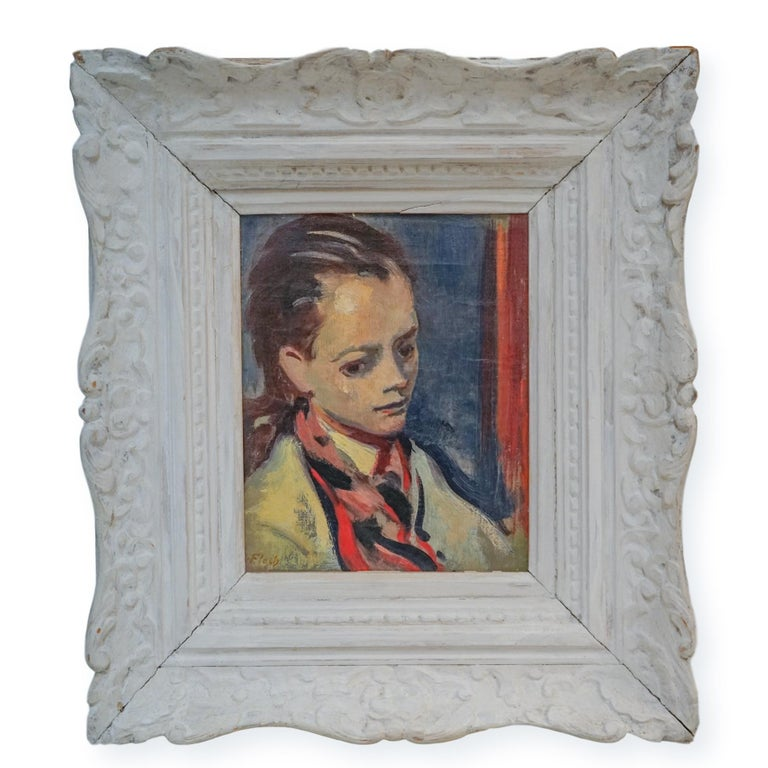 Joseph Floch Figurative Painting - Expressionist High Society Portrait of a Lady  ACA GALLERY