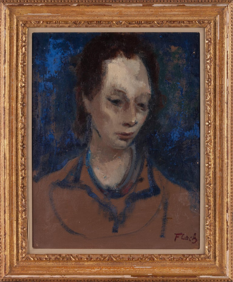 Portrait of a Woman - Modern, Portrait, Oil on Canvas, Mid 20th Century - Painting by Joseph Floch