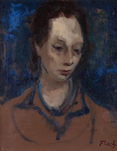 Portrait of a Woman - Modern, Portrait, Oil on Canvas, Mid 20th Century