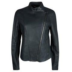 Joseph Forest Grey Lambskin Nappa Leather New Alpha Shearling Jacket L