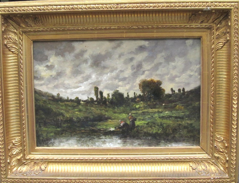 Before the storm Oil on panel, Signed Joseph Foxcroft Cole - Barbizon School Painting by Joseph Foxcroft Cole