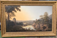 Extensive 19thC English landscape with cows, sheep houses and a man on a pathway