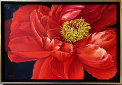Red Peony, original 20x30 contemporary photorealist landscape