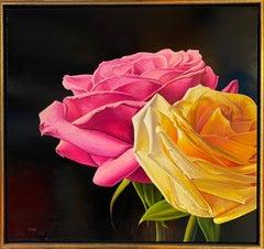 Two Roses, original 28x30 contemporary photorealist landscape