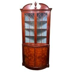 Joseph Gerte Boston MA Custom Mahogany & Burled Walnut Corner Cabinet