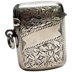 Joseph Gloster Sterling Silver Match Safe/Vesta Case No Monogram, circa 1909